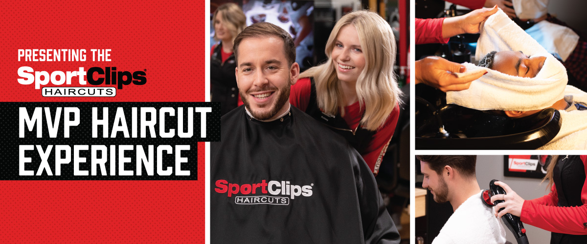 The Sport Clips Haircuts of Tomball - Kuykendahl Drive  MVP Haircut Experience with stylist giving a client a haircut, a hot towel placed on his face, and using a massager on a clients upper back